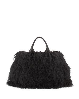 Mongolian Lamb Fur Tote Bag, Black (Nero)