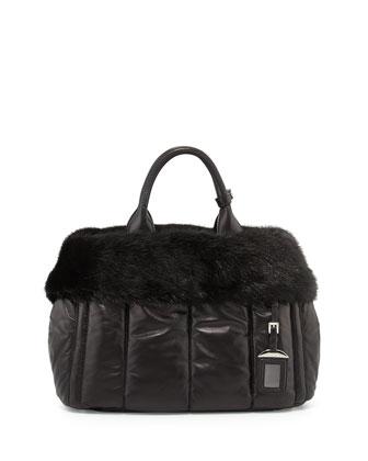 Nappa Bomber & Mink Fur Garden Tote Bag, Black (Nero)