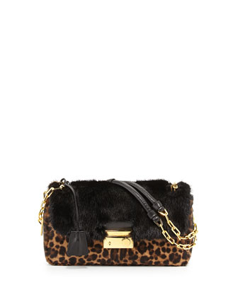 Calf Hair & Mink Fur Chain Shoulder Bag, Leopard/Black