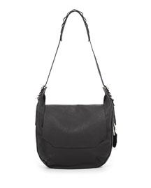 Bradbury Leather Flap Hobo Bag, Black