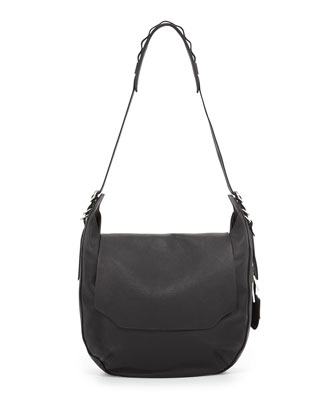 Bradbury Leather Flap Hobo Bag, Black