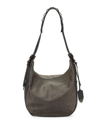 Bradbury Leather Zip Hobo Bag, Iron Gray