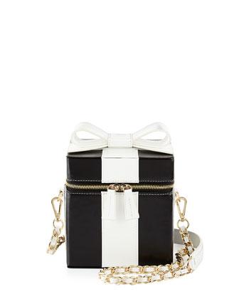 Present Box Leather Shoulder Bag, Black/White