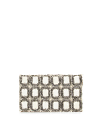 Be Beaded Stone Motif Clutch, Ivory