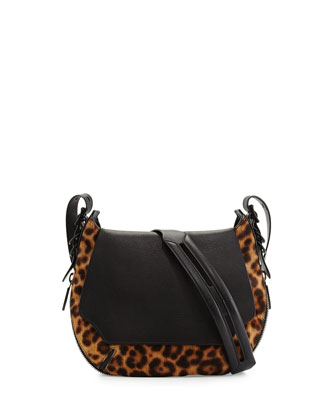 Bradbury Small Leopard-Print Calf Hair Crossbody Bag, Black