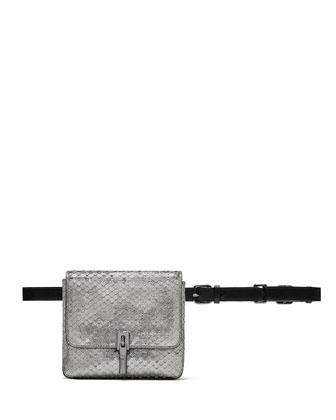 Cynnie Snake-Embossed Belt Bag, Anthracite