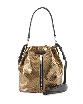 Cynnie Metallic Snake Embossed Mini Bucket Bag, Bronze