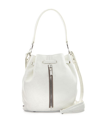 Cynnie Mini Crosshatch Leather Bucket Bag, White