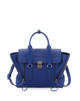 Pashli Medium Leather Satchel Bag, Cobalt