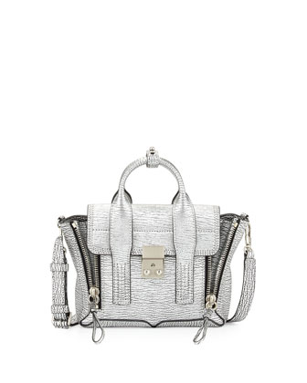 Pashli Mini Leather Satchel Bag, Silver
