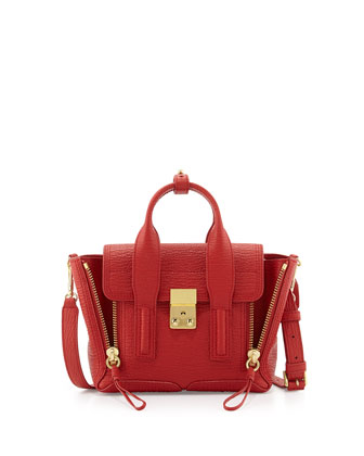 Pashli Mini Leather Satchel Bag, Red