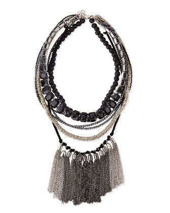 Multi-Strand Beaded Fringe Necklace