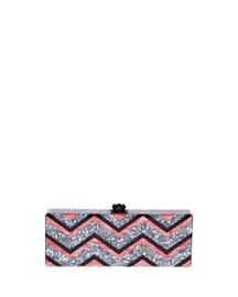 Flavia Chevron Confetti Clutch Bag, Multicolor