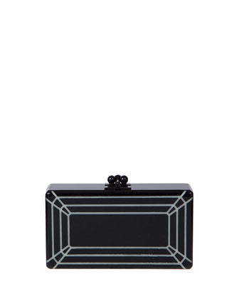 Jean Glow-in-the-Dark Acrylic Clutch Bag, Black