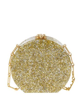 Oscar Confetti Acrylic Clutch Bag, Silver/Gold