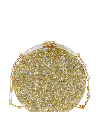 Oscar Confetti Acrylic Clutch Bag, Silver/Golden