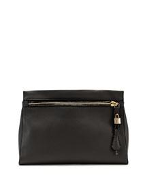 Alix Small Zip & Padlock Clutch Bag, Dark Gray