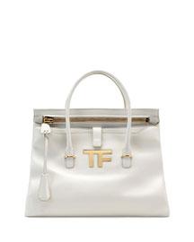 TF Icon Medium Satchel Bag, White
