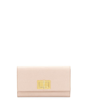 Natalia Turn-Lock Wallet-on-Chain, Nude