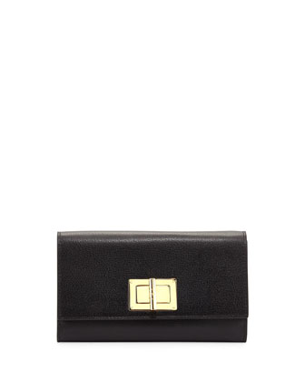 Natalia Turn-Lock Wallet-on-Chain, Black