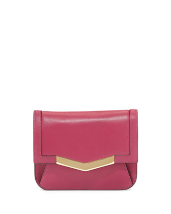 Calfskin Chevron-Detail Belt Bag, Dahlia