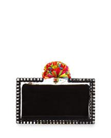 Pandora Clear Pompom Clutch Bag