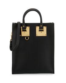 Mini Leather Tote Bag, Black