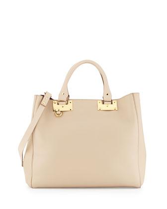 Adjustable Leather Tote Bag, Oat