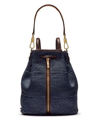 Cynnie Woven Sling Bag with Leather Trim, Indigo