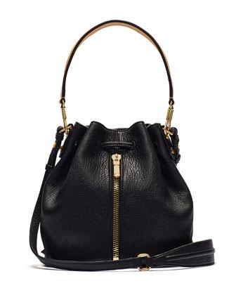 Cynnie Leather Mini Bucket Bag, Black