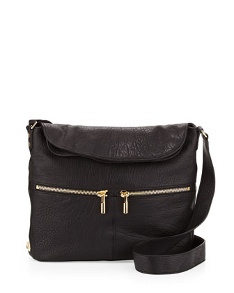 James Large Grain Crossbody Bag, Black