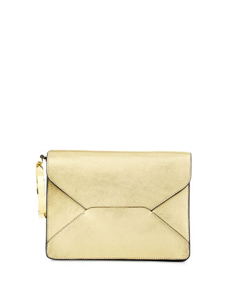 Metallic Bangle Clutch Bag, Gold