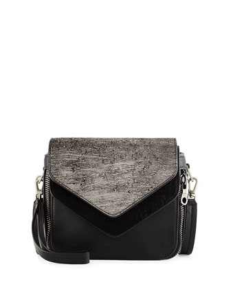 Filippo Mixed-Media Flap Bag, Gunmetal Hollywood