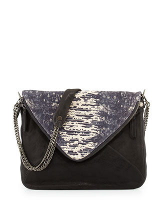 Slash Napa/Lizard-Print Crossbody Bag, Black/Steel