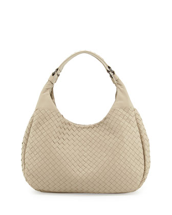 Medium Woven Napa Hobo Bag, Beige