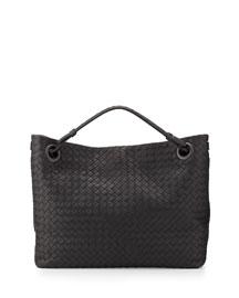 Intrecciato Medium Shoulder Bag, Charcoal