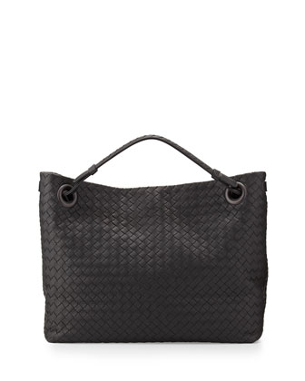 Intrecciato Medium Shoulder Bag, Charcoal