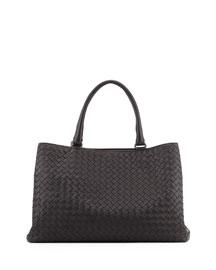 Intrecciato Leather Tote Bag, Black