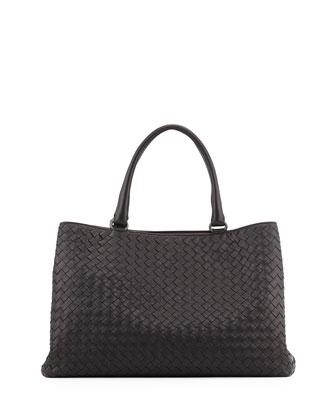 Intrecciato Leather Tote Bag, Black