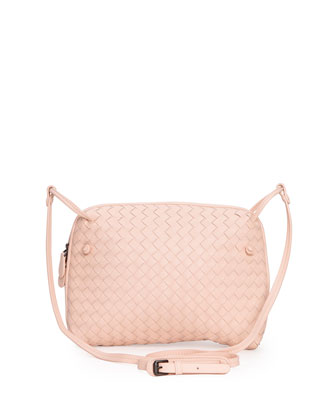 Intrecciato Small Crossbody Bag, Pink