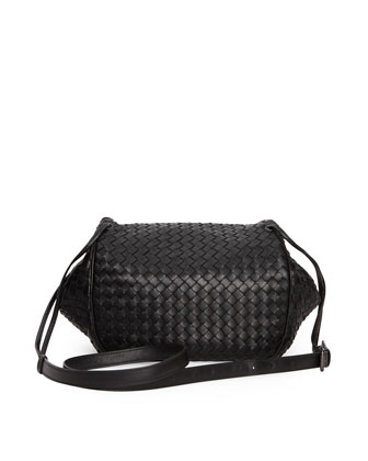 Intrecciato Small Flap Messenger Bag, Black