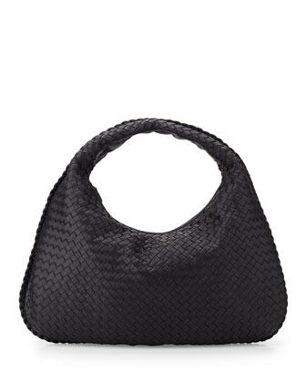 Veneta Large Woven Hobo Bag, Navy