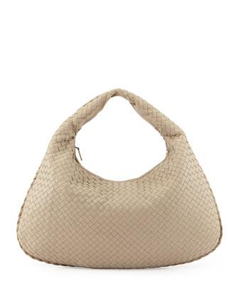 Intrecciato Woven Large Hobo Bag, Beige