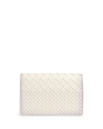 Intrecciato Medium Woven Clutch Bag, White