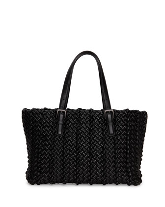 Lido Medium Woven Tote Bag, Black