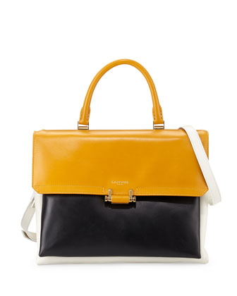 Calfskin Top-Handle Shoulder Bag, Black
