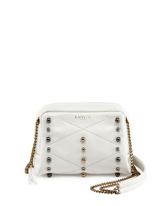 Mini Sugar Studded Crossbody Bag, White