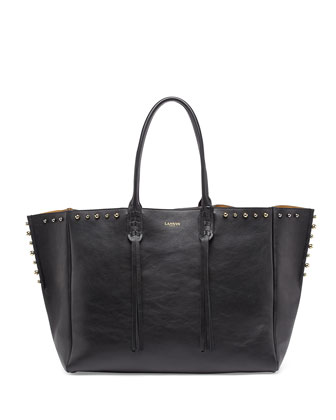 Studded Leather Fringe Tote Bag, Black