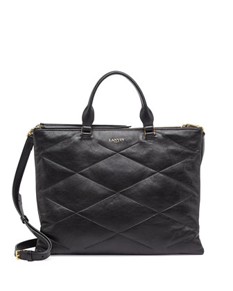Quilted Sugar Tote Bag, Black