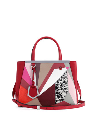 2Jours Petite Marquery Geometric Tote Bag, Red/Multicolor